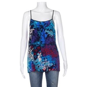 Yumi Kim 100% silk blue cami top Medium print